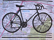Austin Drawings - Bike 8 on Map by William Cauthern