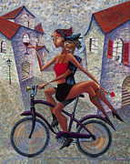 Village Painting Framed Prints - Bike Life Framed Print by Ned Shuchter