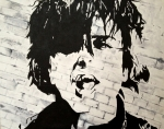 Green Day Painting Prints - Billie Joe Armstrong Print by Willow Quillen
