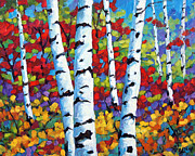Canadian  Painting Posters - Birches in abstract by Prankearts Poster by Richard T Pranke