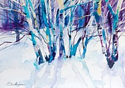 Snow Mixed Media Posters - Birches Poster by Lyubomir Kanelov