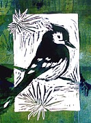 Greens Reliefs Framed Prints - Bird Linocut 1 Framed Print by Penny OHalloran