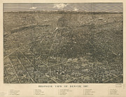 Old Drawings Posters - Birdseye Map of Denver Colorado Poster by Eric Glaser