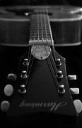Hall Of Fame Posters - Black and White Harmony Guitar Poster by Athena Mckinzie