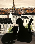 Paris Black Cats Framed Prints - Black Cats On Paris Roofs Framed Print by Atelier De  Jiel