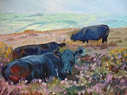 Mike Jory Cow Posters - Black Cows on Dartmoor Poster by Mike Jory