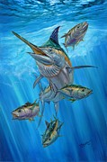 Striped Marlin Painting Framed Prints - Black Marlin And Albacore Framed Print by Terry Fox