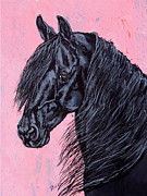 Mustang Prints - Black star in the barn - Friesian horse  Print by Lucka SR
