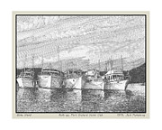 Pen And Ink Drawing Framed Prints - Blake Island Raft Up Framed Print by Jack Pumphrey