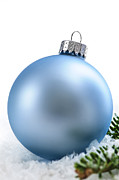Flakes Prints - Blue Christmas bauble Print by Elena Elisseeva