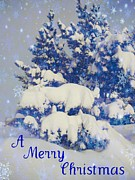 Snow Framed Prints - Blue Christmas Framed Print by Shirley Sirois