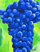 Blue Grapes Painting Posters - Blue Cluster Poster by Kayleigh Semeniuk