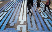 Crosswalk Photo Metal Prints - Blue Crosswalk Metal Print by Setsiri Silapasuwanchai