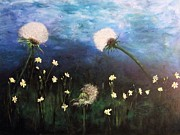 Dandelion Paintings - Blue Dandelions Dance by Tim Christensen