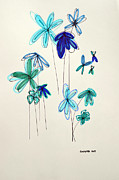 Kids Room Art Painting Metal Prints - Blue Flowers Metal Print by Patricia Awapara