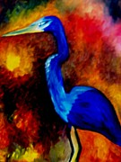 Robin Lewis Posters - Blue Heron Poster by Robin Lewis