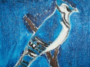 Etc. Painting Metal Prints - Blue Jay Oil Painting Metal Print by William Sahir House