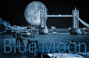 London Central Framed Prints - Blue Moon Framed Print by Donald Davis