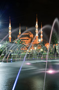 Byzantine Art - Blue Mosque at night 01 by Antony McAulay
