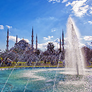 Byzantine Posters - Blue Mosque with fountain 02 Poster by Antony McAulay