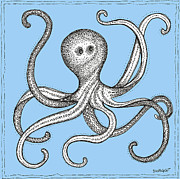 Octopus Drawings - Blue Octopus by Stephanie Troxell
