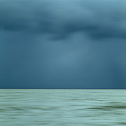 Stormy Sky Prints - Blue sea Print by Bernard Jaubert