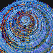 Spiral Digital Art Posters - Blue World Poster by Deborah Benoit