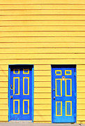 Blue Doors Framed Prints - Blue Yellow Framed Print by Emily Stauring