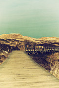 North Sea Prints - Boarded Walkway Print by Angela Doelling AD DESIGN Photo and PhotoArt