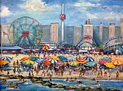 Boardwalk Paintings - Boardwalk New Jersey by Philip Corley