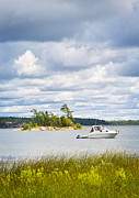 Marine Green Framed Prints - Boat on Georgian Bay Framed Print by Elena Elisseeva