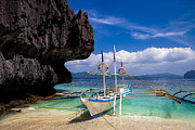 El-nido Posters - Boat on tropical beach Poster by Fototrav Print