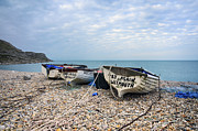Chesil Beach Prints - Boats at Chesil Cove Print by Helen Hotson