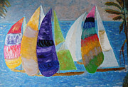 Sea Reliefs Prints - Boats at Sunset 1 Print by Vicky Tarcau