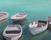 Docked Boats Painting Posters - Boats Poster by Patty Weeks