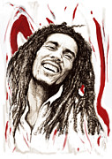Charcoal Mixed Media - Bob Marley colour drawing art poster by Kim Wang