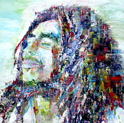 Zion Paintings - BOB MARLEY - oil portrait.1 by Fabrizio Cassetta