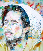 Zion Painting Prints - BOB MARLEY watercolor portrait.8 Print by Fabrizio Cassetta