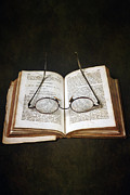 Ancient Letters Framed Prints - Book With Glasses Framed Print by Joana Kruse