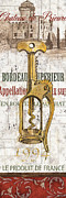 Antique Corkscrew Prints - Bordeaux Blanc 2 Print by Debbie DeWitt