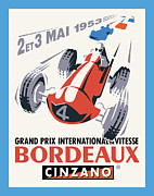 Vintage Typography Digital Art Metal Prints - Bordeaux Racing Metal Print by Gary Grayson