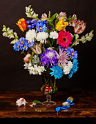 Heem Art - Bosschaert - Flowers in Glass Vase by Levin Rodriguez