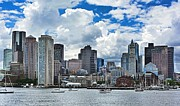 Boston Digital Art Metal Prints - Boston Harbor Metal Print by Julia Springer