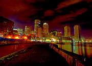 Boston Digital Art Metal Prints - Boston Skyline Metal Print by Byron Fli Walker