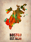 Cities Mixed Media Metal Prints - Boston Watercolor Map  Metal Print by Irina  March
