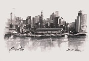 Sepia Drawings Prints - Bostons Skyline Print by Diane Strain
