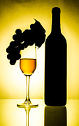 Background Ceramics Posters - Bottle and wine glass Poster by Sirapol Siricharattakul