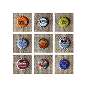 Bottle Cap Framed Prints - Bottle Caps Framed Print by Art Block Collections