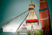 Twilight Framed Prints Prints - Boudhnath Stupa in Nepal Print by Raimond Klavins