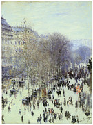 City Scape Painting Prints - Boulevard des Capucines Print by Claude Monet